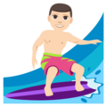Man Surfing: Light Skin Tone on EmojiOne 3.1