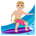 Man Surfing: Medium-Light Skin Tone on EmojiOne 3.1
