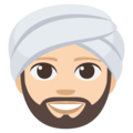 Man Wearing Turban: Light Skin Tone on EmojiOne 3.1