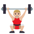 Man Lifting Weights: Medium-Light Skin Tone on EmojiOne 3.1