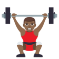 Man Lifting Weights: Medium-Dark Skin Tone on EmojiOne 3.1