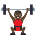 Man Lifting Weights: Dark Skin Tone on EmojiOne 3.1
