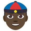 Man With Chinese Cap: Dark Skin Tone on EmojiOne 3.1