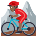 Person Mountain Biking: Medium-Dark Skin Tone on EmojiOne 3.1