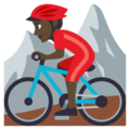 Person Mountain Biking: Dark Skin Tone on EmojiOne 3.1