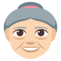 Old Woman: Light Skin Tone on EmojiOne 3.1