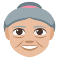 Old Woman: Medium-Light Skin Tone on EmojiOne 3.1