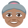 Old Woman: Medium Skin Tone on EmojiOne 3.1