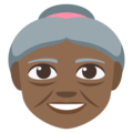 Old Woman: Medium-Dark Skin Tone on EmojiOne 3.1