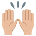 Raising Hands: Medium-Light Skin Tone on EmojiOne 3.1