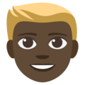 Blond-Haired Person: Dark Skin Tone on EmojiOne 3.1