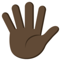 Raised Hand With Fingers Splayed: Dark Skin Tone on EmojiOne 3.1