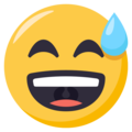 Grinning Face With Sweat on EmojiOne 3.1