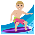 Person Surfing: Medium-Light Skin Tone on EmojiOne 3.1