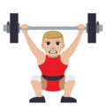 Person Lifting Weights: Medium-Light Skin Tone on EmojiOne 3.1