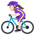 Woman Biking: Light Skin Tone on EmojiOne 3.1