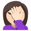 Woman Facepalming: Light Skin Tone on EmojiOne 3.1