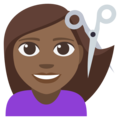 Woman Getting Haircut: Medium-Dark Skin Tone on EmojiOne 3.1