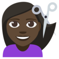Woman Getting Haircut: Dark Skin Tone on EmojiOne 3.1