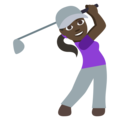 Woman Golfing: Dark Skin Tone on EmojiOne 3.1