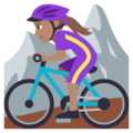 Woman Mountain Biking: Medium Skin Tone on EmojiOne 3.1