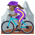 Woman Mountain Biking: Medium-Dark Skin Tone on EmojiOne 3.1