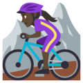 Woman Mountain Biking: Dark Skin Tone on EmojiOne 3.1