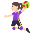 Woman Playing Handball: Light Skin Tone on EmojiOne 3.1