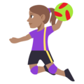 Woman Playing Handball: Medium Skin Tone on EmojiOne 3.1