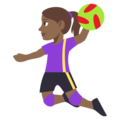 Woman Playing Handball: Medium-Dark Skin Tone on EmojiOne 3.1