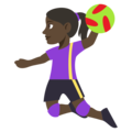 Woman Playing Handball: Dark Skin Tone on EmojiOne 3.1