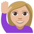 Woman Raising Hand: Medium-Light Skin Tone on EmojiOne 3.1
