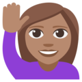 Woman Raising Hand: Medium Skin Tone on EmojiOne 3.1