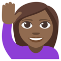 Woman Raising Hand: Medium-Dark Skin Tone on EmojiOne 3.1