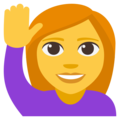 Woman Raising Hand on EmojiOne 3.1