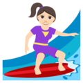 Woman Surfing: Light Skin Tone on EmojiOne 3.1