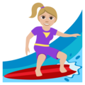 Woman Surfing: Medium-Light Skin Tone on EmojiOne 3.1