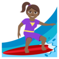 Woman Surfing: Medium-Dark Skin Tone on EmojiOne 3.1