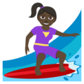 Woman Surfing: Dark Skin Tone on EmojiOne 3.1