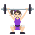 Woman Lifting Weights: Light Skin Tone on EmojiOne 3.1