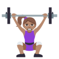 Woman Lifting Weights: Medium Skin Tone on EmojiOne 3.1