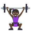 Woman Lifting Weights: Dark Skin Tone on EmojiOne 3.1