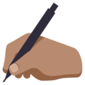 Writing Hand: Medium Skin Tone on EmojiOne 3.1