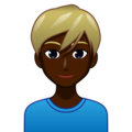Blond-Haired Man: Dark Skin Tone on emojidex 1.0.33
