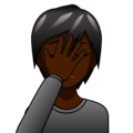 Person Facepalming: Dark Skin Tone on emojidex 1.0.33