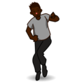 Man Dancing: Dark Skin Tone on emojidex 1.0.33