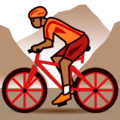 Person Mountain Biking: Medium-Dark Skin Tone on emojidex 1.0.33