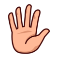 Raised Hand With Fingers Splayed: Medium-Light Skin Tone on emojidex 1.0.33