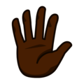 Raised Hand With Fingers Splayed: Dark Skin Tone on emojidex 1.0.33