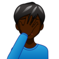Man Facepalming: Dark Skin Tone on emojidex 1.0.34